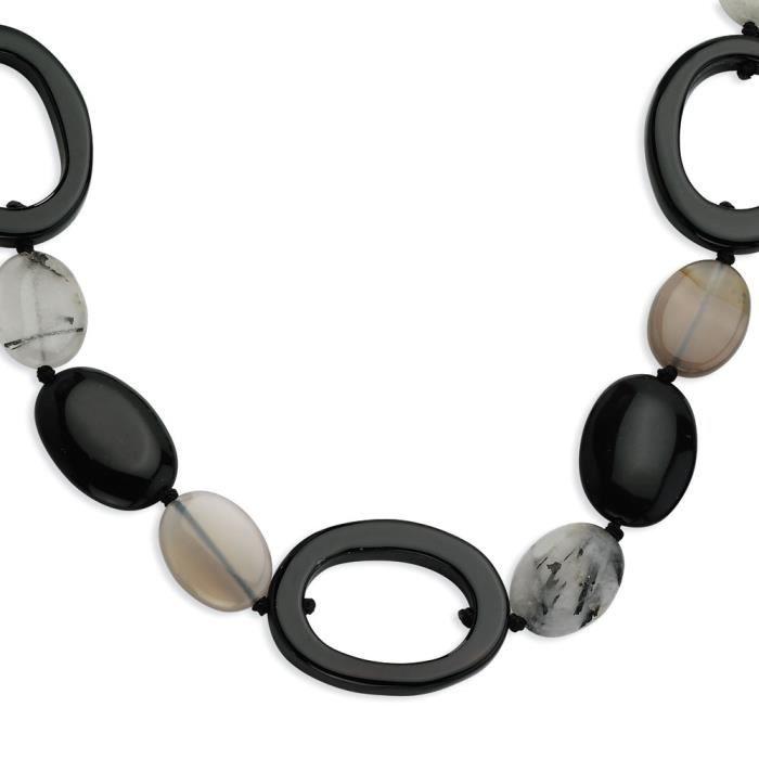 Argent 925/1000–Agate noire Tourmalinated Collier Quartz 30 cm