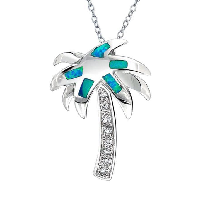 Bling Jewelry Opale bleu synthétique Palmier encastré Argent 925 Pendentif