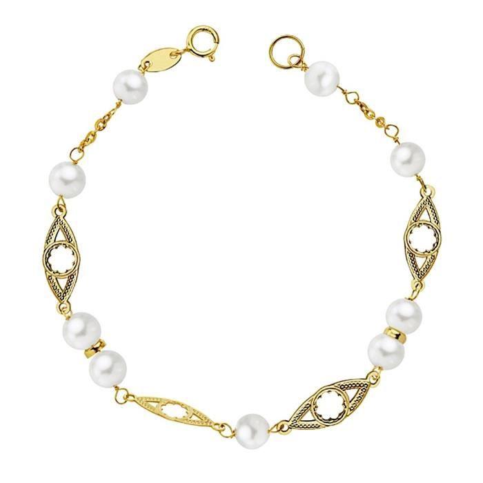 en soldes 54bd9 8dc9e Bracelet 18k 17cm première communion or. 5 mm perles. fleurs ajourées  clôture ovale cultivé fille de reasa