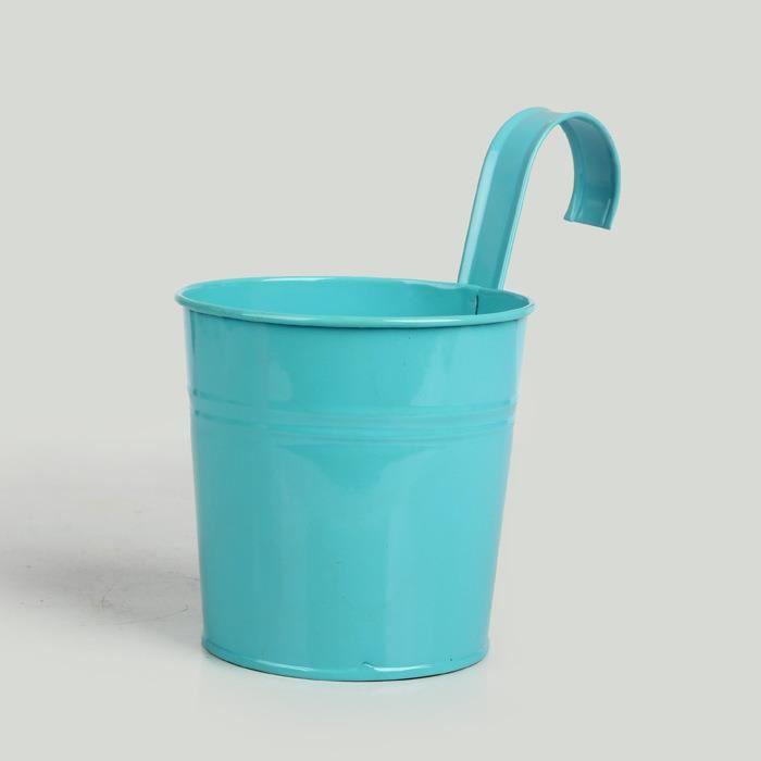 bleu fleur pot panier baril vase suspendu en métal vase décoration