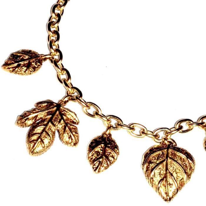 bijou gros Collier couture de couleur or chaîne et breloques feuille