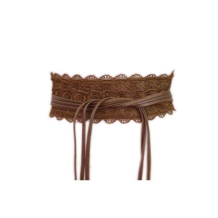 4d30afb0e35 Large ceinture obi dentelle camel - Achat   Vente ceinture et boucle ...