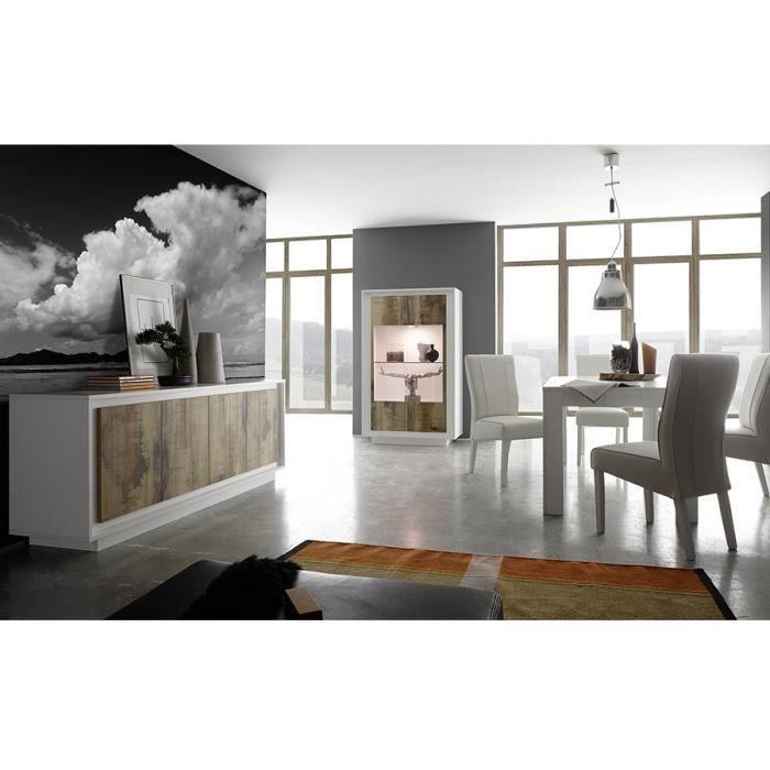 Salle à manger complète blanc laqué mat et couleur bois PACOME LED à ...