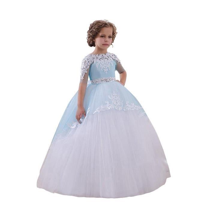 a54963e7e3487 Dentelle Perlée Robe Longue de Cérémonie Fille Enfant Mariage Sans manches  Arc