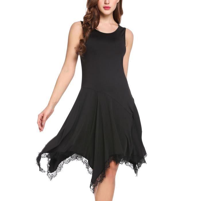 robe femme sans manches en dentelle asymétrique de parage