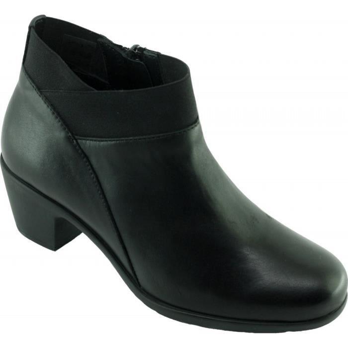 c4e4748bfa9a16 DUST - Bottines talon stable fermeture zip grand confort chaussures Femme  pieds sensibles marque Aérobics cuir noir
