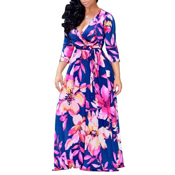 Femmes Maxi robe longue V moitié du cou manches Aline plus robe de taille 6129350