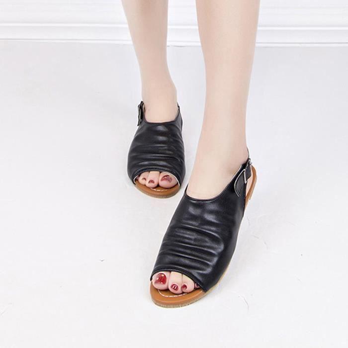 Été Femmes Bohème Poisson Bouche Chaussures Sandales Appartements  Chaussures Casual Rome Sandales Noir 5252cc3507ae