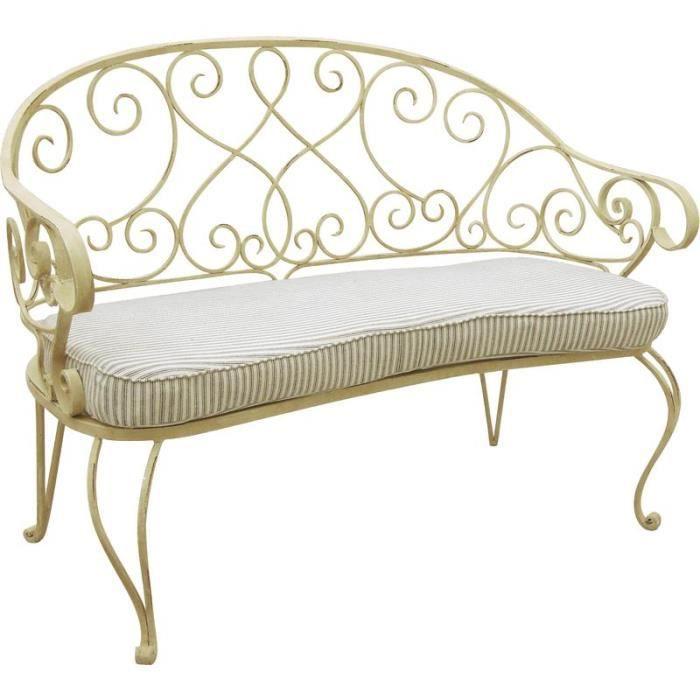 banc de jardin en m tal avec coussin dimension achat vente banc d 39 ext rieur banc en m tal. Black Bedroom Furniture Sets. Home Design Ideas