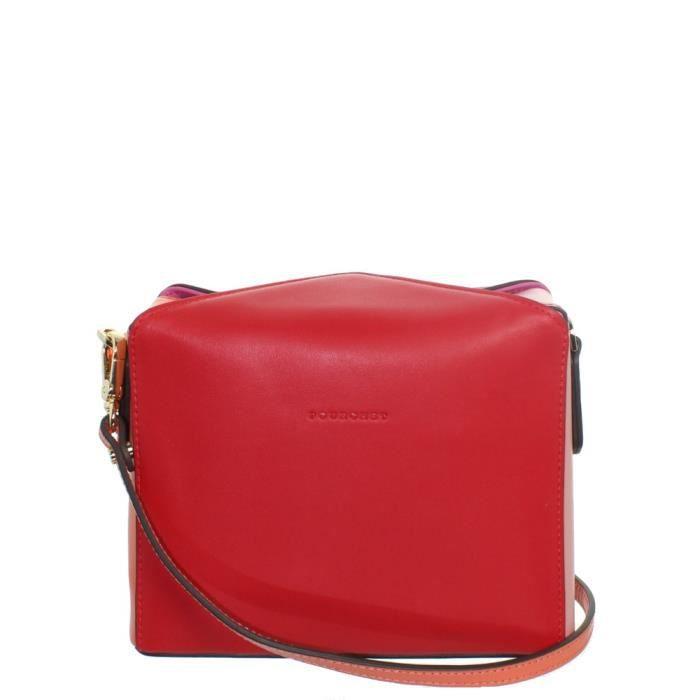 Sac Pochette porté travers Pourchet en cuir ref_pou43175 rouge-fushia 19*15*6 Rouge