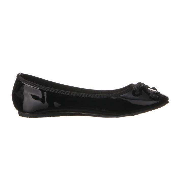 Chaussures femmes Ballerine chausson en Manquer decuir OPTIQUES noir