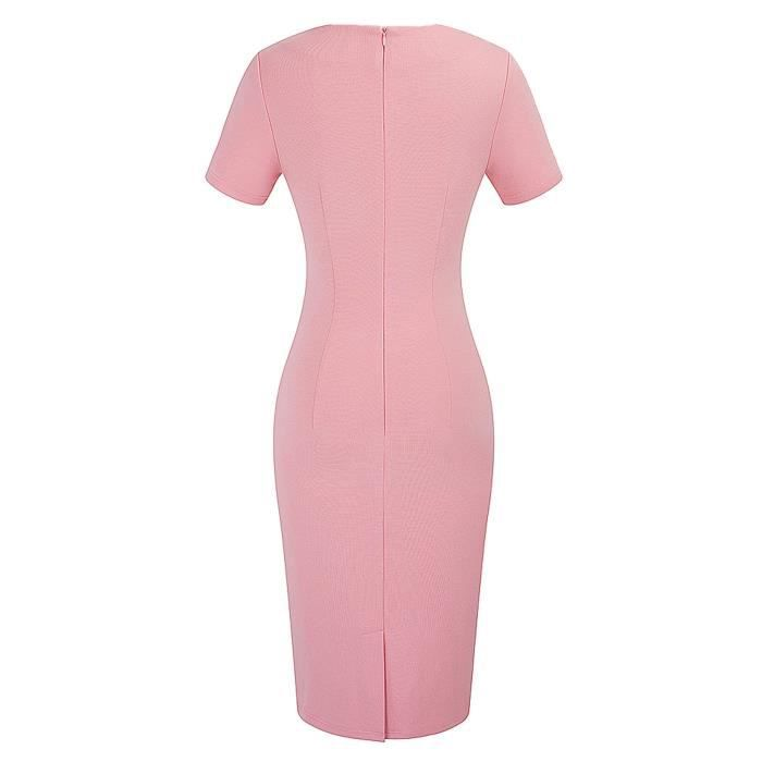 Longueur du genou élégant col rond manches courtes moulante pour femmes porter au travail Robe B389 2EUUP3 Taille-34