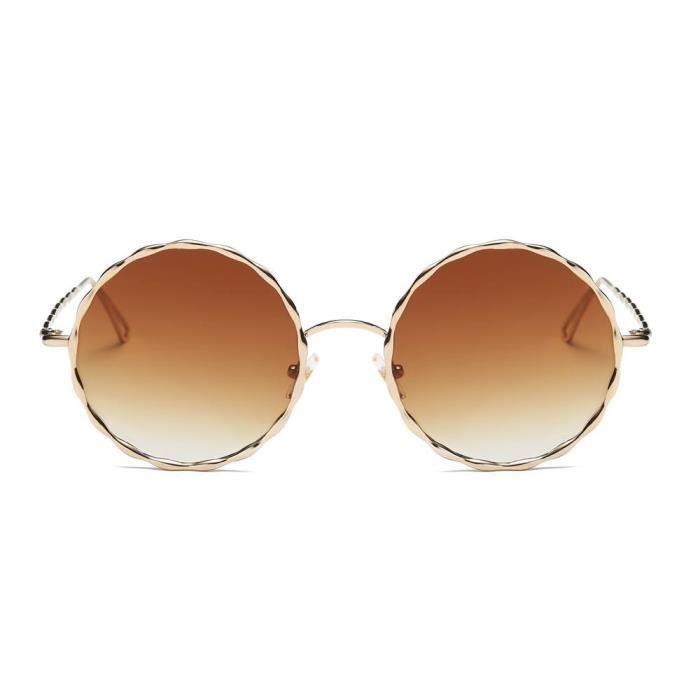 Femmes Hommes Vintage Retro lunettes de mode unisexe miroir Aviator objectif Lunettes de soleil C marron-WDL70725467C_1234