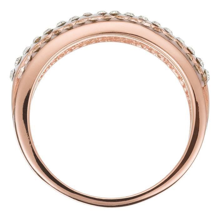Mes-bijoux.fr - Bague Femme Métal doré Beige et ornée de Cristaux de Swarovski Element - WBI208rCrgv