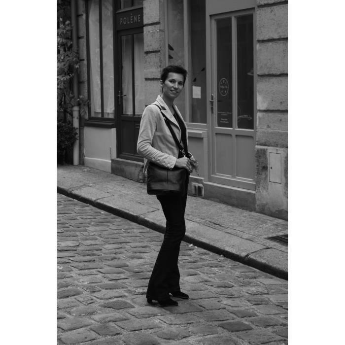 Sac à main femme en cuir - Modèle Beaubourg gris fonce
