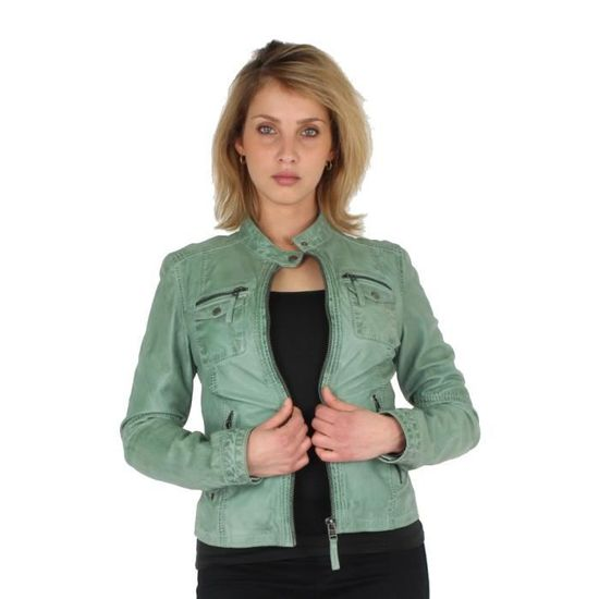 cco42844 After Blouson Oakwood Perfecto Cuir Vert Clair En Style Ref HqHpv0