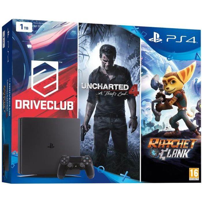 CONSOLE PS4 Nouvelle PS4 Slim Noire  1 To + 3 Jeux : Uncharted