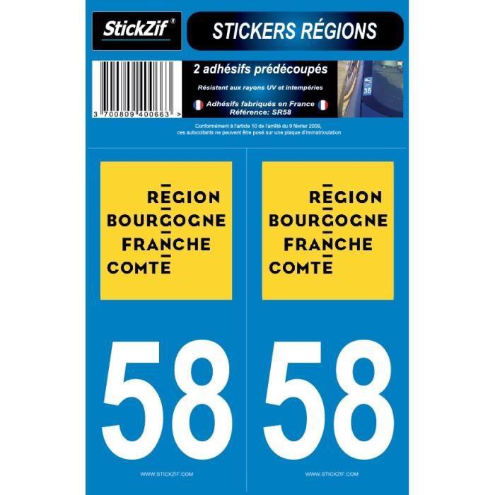 STICKZIF 2 Autocollants Région Département 58 SR58