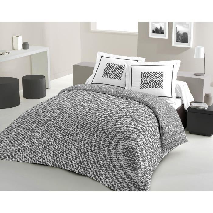 Matière : 100% coton tissé serré 54 fils - Dimensons : 220x240/ 65x65 cm - Coloris : gris anthracite et blancPARURE DE COUETTE