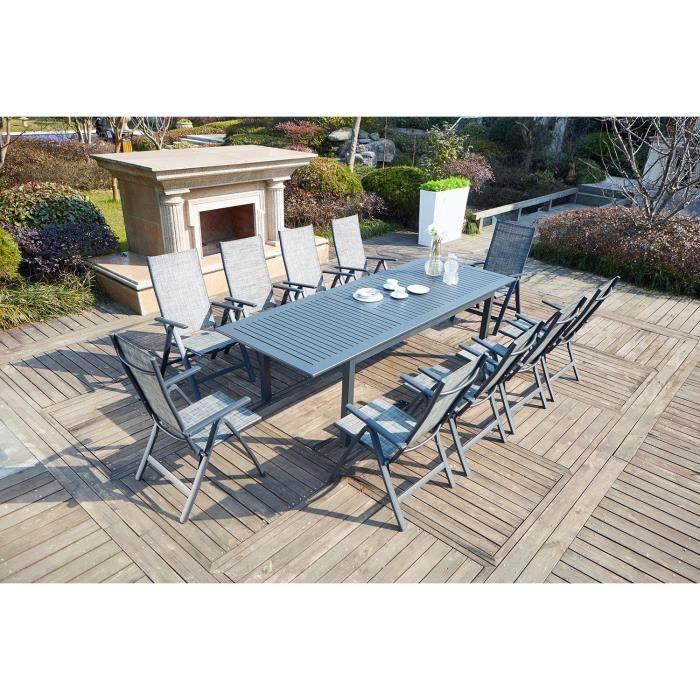 Salon de jardin table extensible et 10 chaises - Achat / Vente salon ...