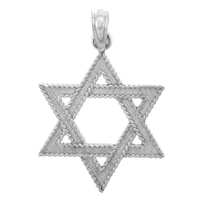 Pendentif 10 ct 471/1000 Juif OrÉtoile de David Or Blanc