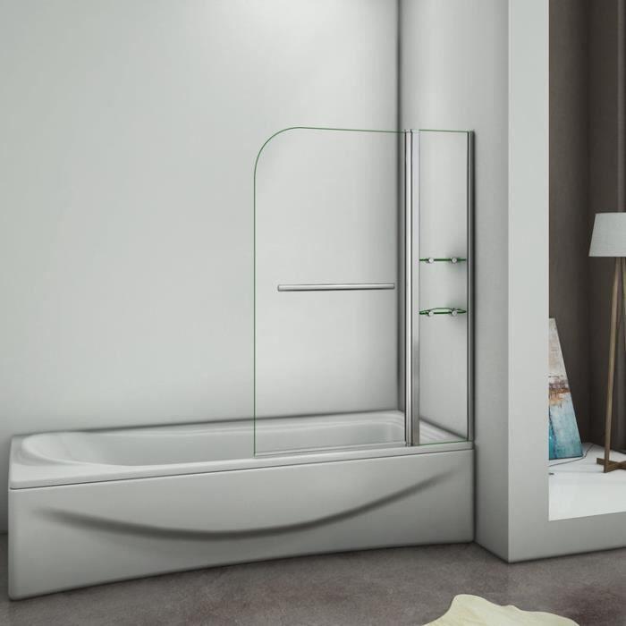 PORTE DE BAIGNOIRE Pare baignoire 120x 140cm, écran de baignoire, por