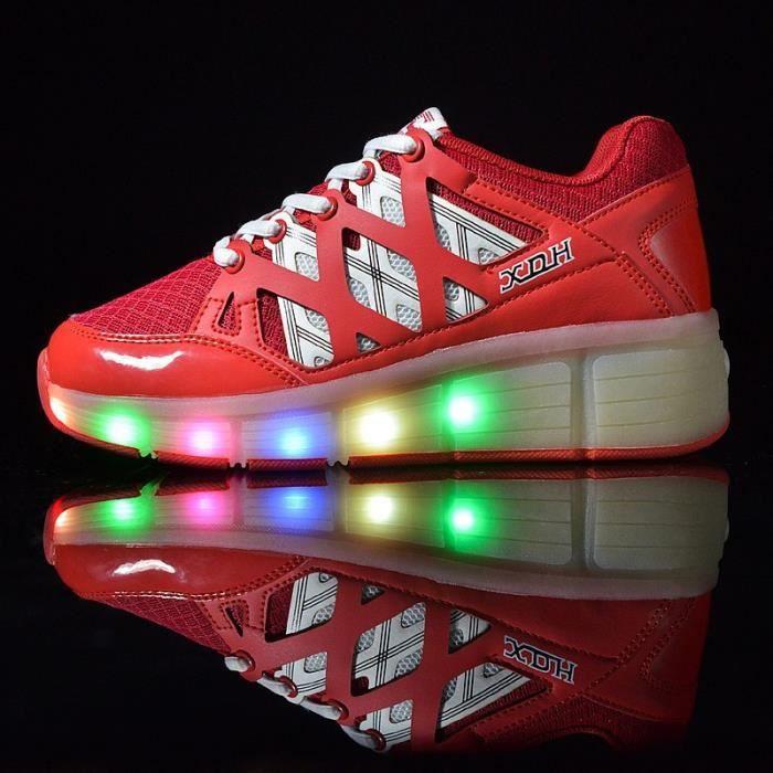 USB Charge LED Lumière Lumineux Clignotants Chaussures de Sports Baskets Blanc 7 Couleur Unisexe Homme Femme