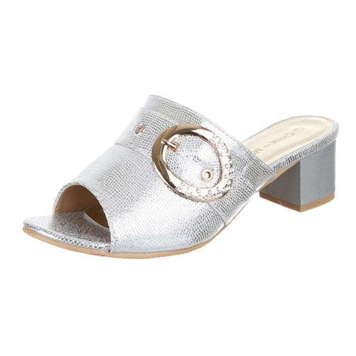 Chaussures femmes sandales avec STRASS OCCUPÉ Glanz argenté