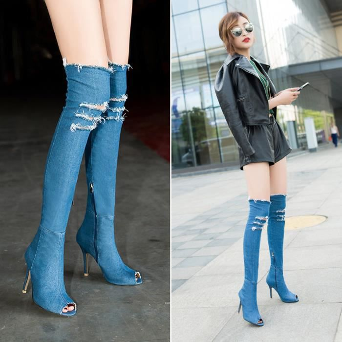 Women Denim Over Knee Boots Peep Thigh Chaussures à talons sexy à talons hauts HG1