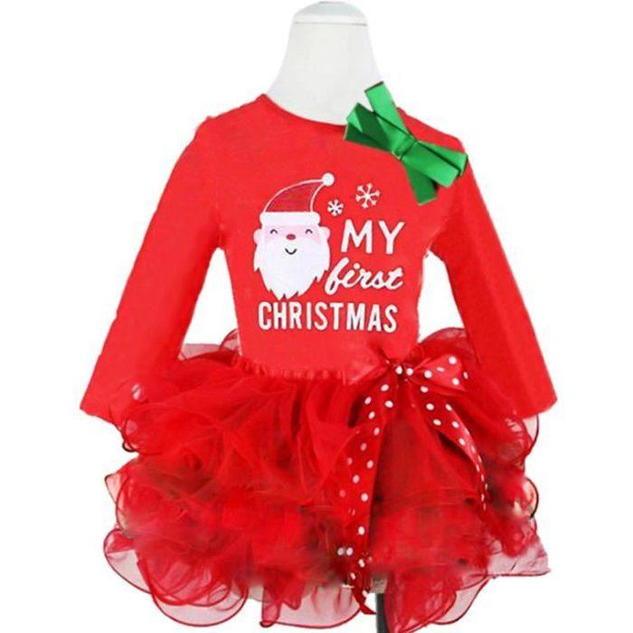 88f040ee7a95a 0-4 Ans Fille Robe Noël Bébé Enfant Manches Longues Père Noël Imprimé Tutu  Nouveau-né