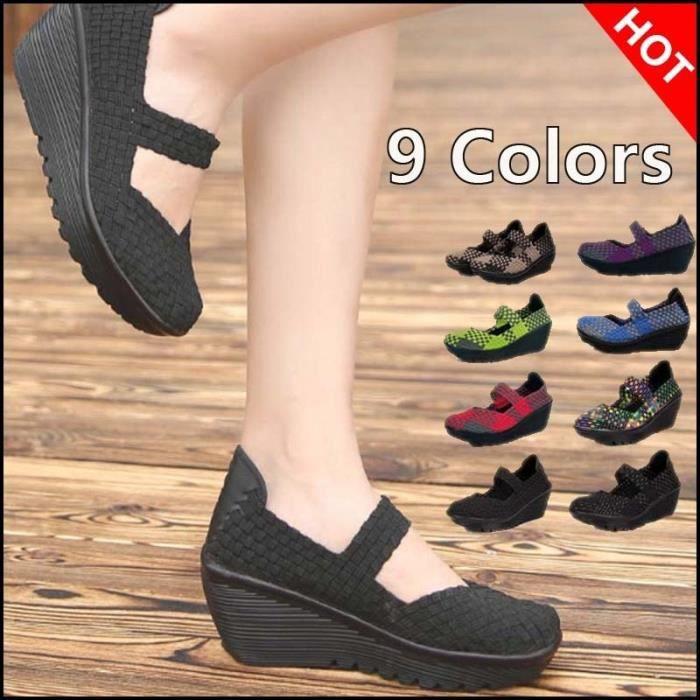 2017 été New Tissé Chaussures de coussin d'air coréenne Casual respirante femmes & # 39; Chaussures pour augmenter la Chaussures i2SOaoPnZ