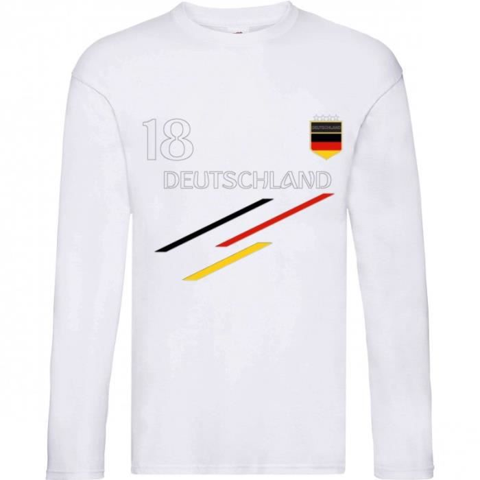 2d340896cd5f7 Tee shirt manches longues Foot enfant Allemagne blanc Taille 3 à 14 ...