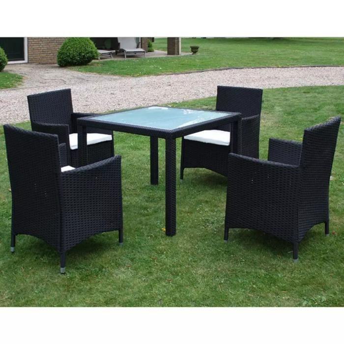 Jeu de mobilier de jardin 9 pcs Ensemble table chaise faute de jardin Noir  Résine tressée