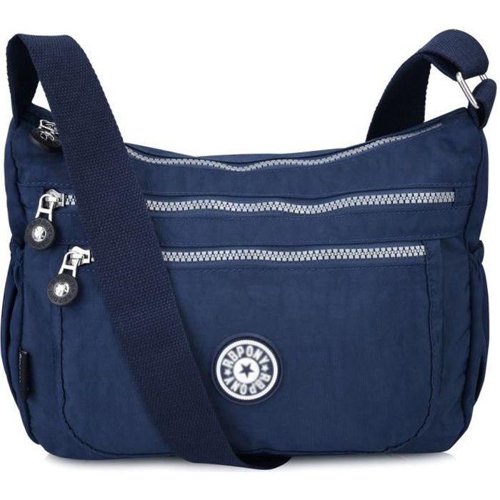 304c7e9745 Vbiger Multifonctionnel Sac Bandoulière Femme Cusual Sac à Main en Nylon pour  Voyage Bleu