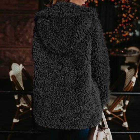 Veste Chaud vêtement Noir Laine Lapel En Manteau D'hiver Mesdames Artificielle Femmes xYwOq1APz