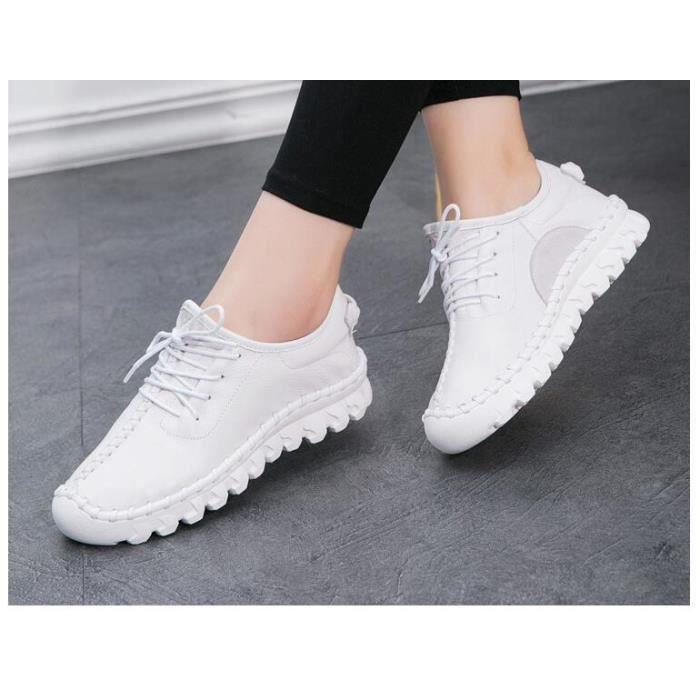 Nouvelles Femmes de Chaussures À La Main En Cuir Véritable Laçage Plat Mère Mocassins Doux Simples Appartements Occasionnels JyM2EM8