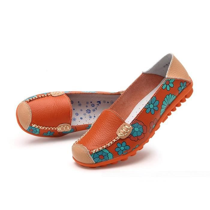 Floral Cowhide Flat Print Driving IA1ME Taille Slip Womens On Casual 39 Shoes Loafer d5w6dO