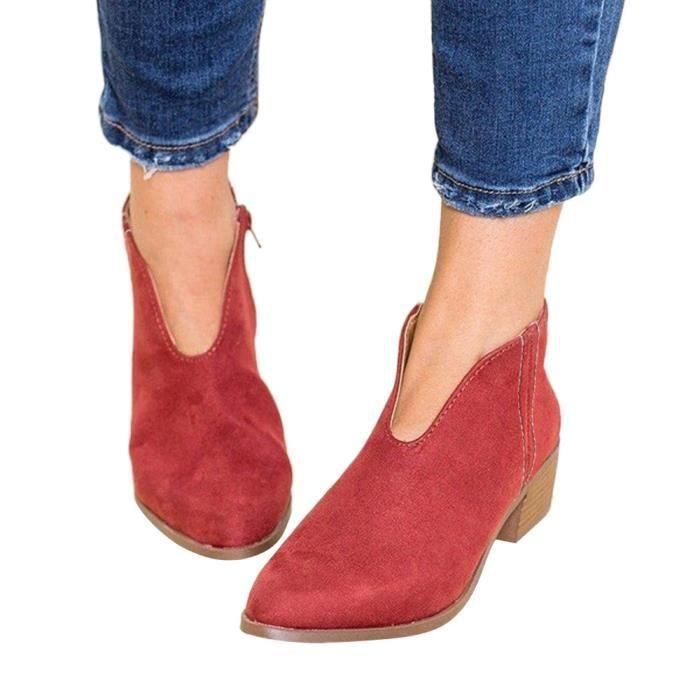 Talon Bottes À Place Femmes Zipper Retro Bout Rouge Chaussures Solide Kanyrne Couleur Rond Suède En UxEY4p