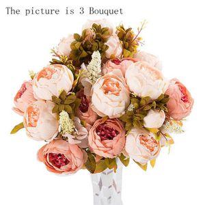 FLEUR ARTIFICIELLE 3 Bouquet 24 Têtes Pivoine Artificielle Fleur de S