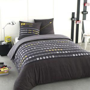 housse de couette 200x200 grise achat vente housse de couette 200x200 grise pas cher. Black Bedroom Furniture Sets. Home Design Ideas