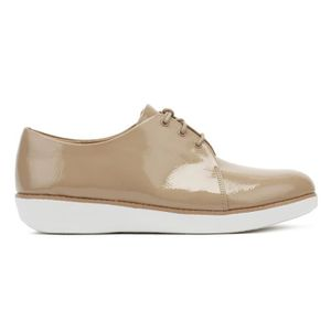 DERBY FitFlop Womens Taupe Derby Crinkle Patent Shoes-UK