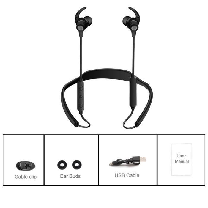 Basilesmile®écouteur Bluetooth Casque Sans Fil Sport Écouteurs Neckband Avec Mic Sh751i
