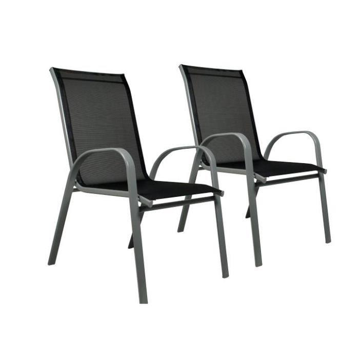 FAUTEUIL JARDIN 2 Chaises En Aluminium Textilne Empilable