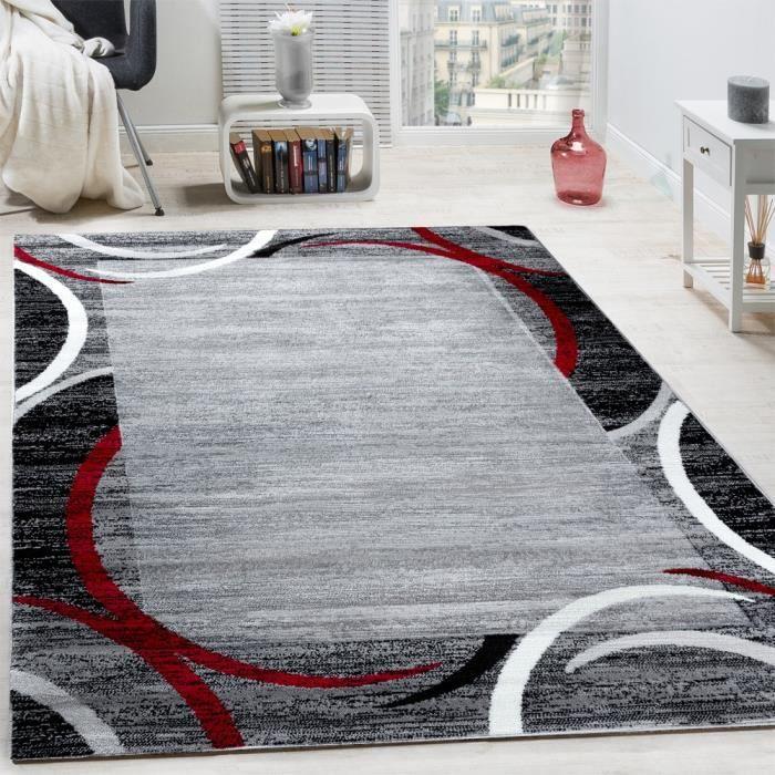 Tapis De Salon Moderne Avec Bordure Gris Noir Rouge 160x220 Cm
