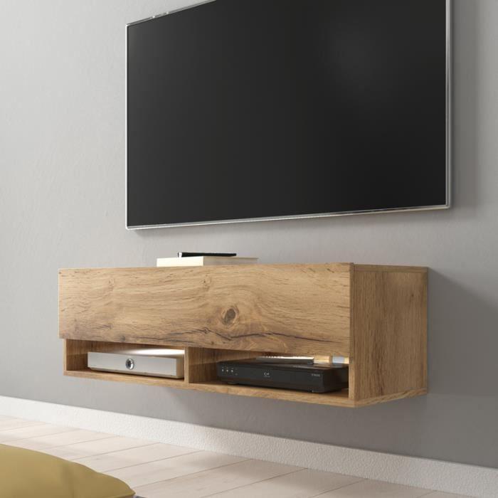 Meuble TV / Meuble De Salon   WANDER   100 Cm   Effet Chêne Wotan   Avec  LED   2 Niches Ouvertes   Style Industriel