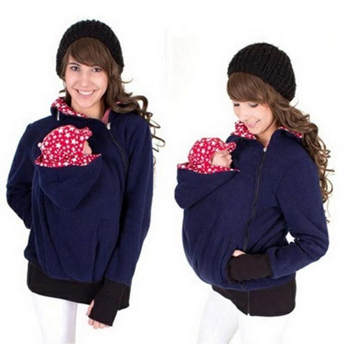 a894bd2d726 Pull Vêtement Veste capuchonné Kangourou avec Zipper Porte-bébé capuche  pour voyage promenade Automne Hiver pour Maman Femme Fas.