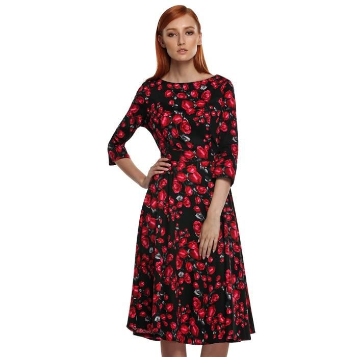 Robe Élégant floral femmes à manches 3-4