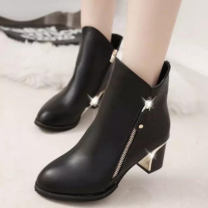 Femmes Talons hauts Booties Bottes de cheville Zipper Fashion Low Shoes Wedge Shoes lza6bXnG