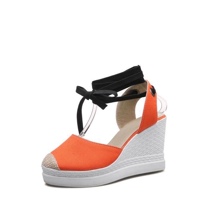 Style rétro Sandales en toile Croisement plage Sandales de femme 9546718