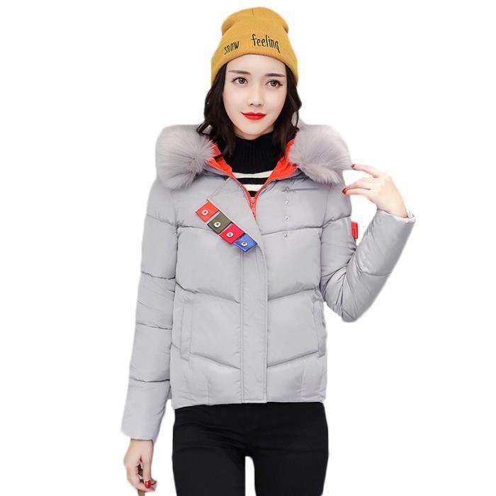 Doudoune à capuche Femme Marque Luxe a la mode col en fausse ... 772ea25c3c9e